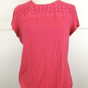 Crofts & Barrow Short Sleeve rose Pink Blouse XL